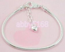 Snake Chain Lobster Clasp Silver /P Charm Bracelet Fit European Beads L13