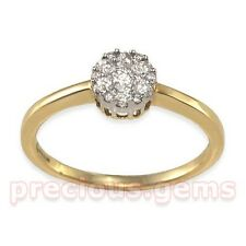 9ct Gold 0.25ct Diamond Solitaire Illusion Cluster Ring ~ Retail £249!!