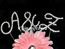 Crystal Clear A-grade Wedding Rhinestone Diamante Monogram Initial Cake Topper