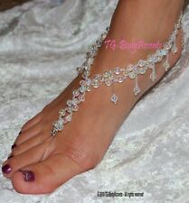 Barefoot Sandals - Foot Jewelry - Beach Wedding - Anklets -  Clear AB  FJ-067
