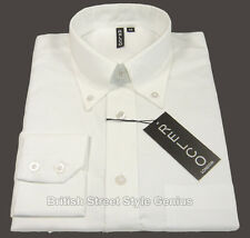 Relco Oxford Shirt - White - Long Sleeve - Classic 60s Button Down Mod/Skin NEW