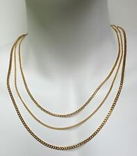 24K Gold Plated Stainless Steel Men Women Cuban Link Curb  Chain Necklace 2mm,