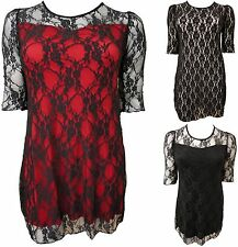 LADIES PLUS SIZE 3/4 SLEEVE FULL LACE LINED DESIGNER INSPIRED PARTY DRESSES12-26