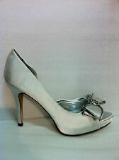 "WOMENS EVENING SHOES""PANAMA""BY VERALI HIGH HEEL PLATFORM PEEP TOE SILVER SATIN"