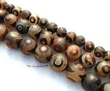 10mm 14mm 16mm Brown Agate Round Loose Beads 14""