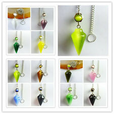 Interesting Carved mixed color Cats eye Pendulum pendant bead