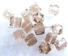 Clear Silver Champagne Glass 4mm 5x6mm Square Cube Faceted Beads 100pcs