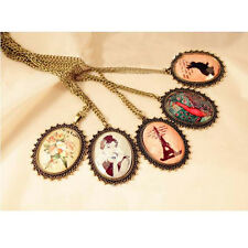 Fashion Eiffel Tower Flower Peacock Feather Rabbit Alloy Chain Necklace Pendant