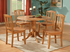 "3PC ROUND DINETTE DINING SET TABLE 42"" WITH DROP LEAF AND 2 CHAIRS IN OAK FINISH"