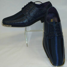 Mens Dark Navy Blue Satin Stripe Silvertip Formal Dress Shoes Viotti 163ST
