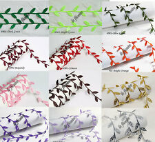 "U PICK COLOR~ 1"" Satin Leaf Leaves Vine Garlands Ribbon Sew On Lace Trims #6901"
