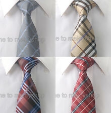"1PC New Checkers Plaid 100% Woven Silk Mens Groom Wedding Dress Necktie 3"" tie"