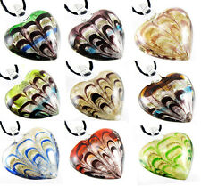 Peacock Feather Lampwork Murano Art Glass Heart Pendant Necklace Cord kj1038