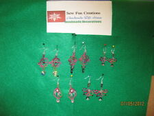 1 Pair Tatted Ear Rings Vineyard - Silver Fish Hook Glass beads New