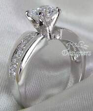 1.5ct Brilliant Cut Platinum-ep  Engagement Ring, Sterling Silver, Sizes 4-10