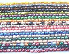 multicolor freshwater Pearl freeform oval beads 14""