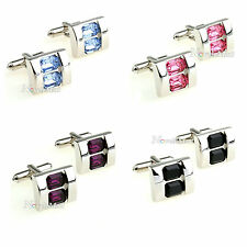 Rectangle Cufflinks with Crystal Men's Business Wedding Cuff Links
