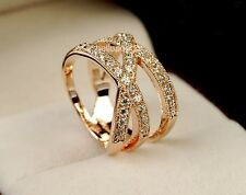 Elegant Jewelry 18K Rose Gold GP Swarovski Crystal Cross Wide Party Ring