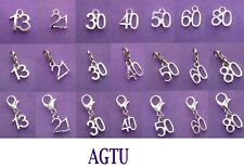 YOU PICK Clip On Silver Plated Age Number Charm 10 12 13 16 18 21 30 50 60 80
