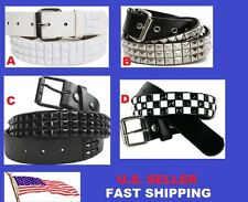 3-Row Metal Pyramid Studded Leather Belt Unisex Women's Men's Punk Rock Goth Emo
