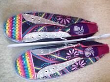 GIRLS SLIP ON TENNIS SHOES NO LACES VARIOUS COLORS FLOWERS RHINESTONES ON TOES