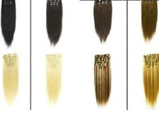Clip-In Deluxe Quality Human Hair Extensions Half Head Set Various Colours Full