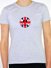 Union Jack/Great Britain Flag in Smiley Face - Womens T-Shirt - Various Sizes