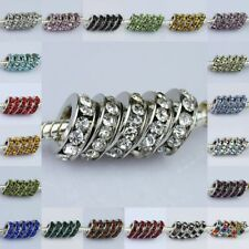WHOLESALE LOTS COLORS CRYSTAL 3X10MM EUROPEAN CHARM BEADS FIT BRACELETS