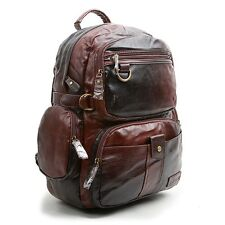 MENS BAG BACKPACK FAUX LEATHER SCHOOL VINTAGE CASUAL CLASSIC BLACK BROWN