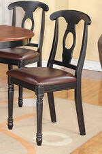 1 NAPOLEON DINING KITCHEN DINETTE WOOD OR LEATHER UPHOLSTER SEAT CHAIR IN BLACK