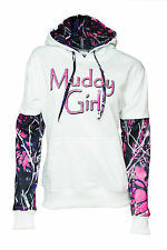Moon Shine Attitude Attire Muddy Girl Pullover Pink Camo Sleeve White Hoodie