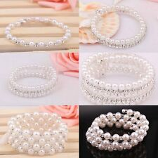 New Design 1pc White Charm Glass Pearl With Crystal Bracelet For Wedding Party