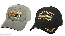 VET Vietnam Veteran Service Ribbon Deluxe Ball Cap Insignia Embroidered Black OD
