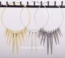 3 Pairs Gold/Silver Acrylic Spike Beads Wild Basketball Wives Earrings Jewelry