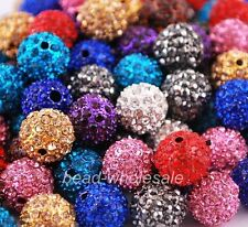 10pcs High Quality Polymer Clay Clear Crystal Rhinestone Disco Ball Spacer Beads