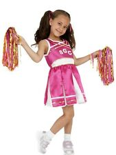 GIRLS CHEERLEADER FANCY DRESS COSTUME CHILDRENS PINK USA US OUTFIT WITH POM POMS