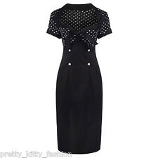 ROCKABILLY 50s BLACK WHITE POLKA DOT PIN UP PENCIL GLAMOUR WIGGLE PIN UP DRESS