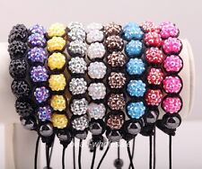 1X Resin Crystal Ball(9pcs) Braid Chain Hematite Beads(2pcs) Adjustable Bracelet