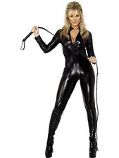 LADIES FEVER CAT SUIT FANCY DRESS COSTUME BLACK MISS WHIPLASH HALLOWEEN OUTFIT
