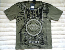 BNWT Boys TAPOUT Military T-Shirt 7-13y 100% Cotton MMA/Kickboxing Black/Green