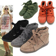 Hollywood Style New Womens High-Top Suede Wedge Heel Trainer Sneaker US6 7 8