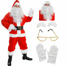 DELUXE SANTA COSTUME 10 PIECE PLUSH FATHER CHRISTMAS FANCY DRESS XMAS S - XXXXXL