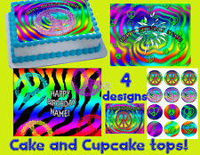 Peace sign Cake & Cupcake toppers Edible image FROSTING sugar sheet symbol stars