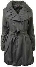 NEW LADIES BLACK BELTED GATHERING COLLAR MILITARY LOOK FROCK JACKET 10-16