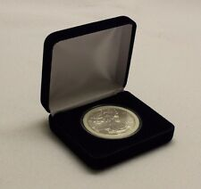 Blue Velvet Display Box & Airtite Coin Capsule Holder for Silver Eagle & Other