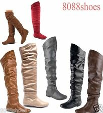 Women's Comfort Shoes Round Toe Flat Low Heel Slouchy Thigh High Boot Shoes