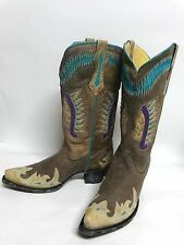Women's Corral R2245 Black / Turquoise Indian Head Inlay Fashion Western Boots