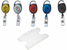 Double ID Card Pass Badge Holder & Premier YoYo Retractable Reel PICK A COLOUR