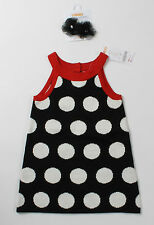 NWT girls size 12 18 months 3T Gymboree black white dot sweater jumper hair clip