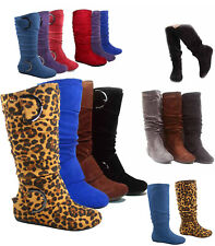 Cute Slouch Comfort Casual Flat Mid Calf Knee High Round Toe Women's Boot All SZ